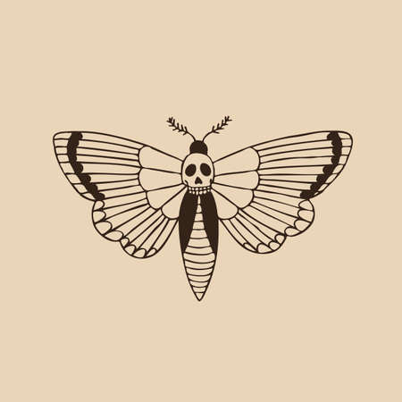 African deaths head hawkmoth illustration traditional tattoo flash, vector color illistration