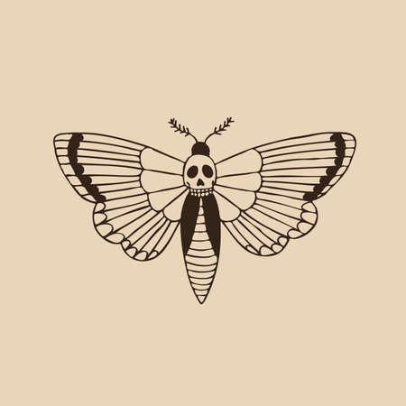 Tête de mort africaine illustration de hawkmoth flash de tatouage traditionnel, illustration de couleur vectorielle