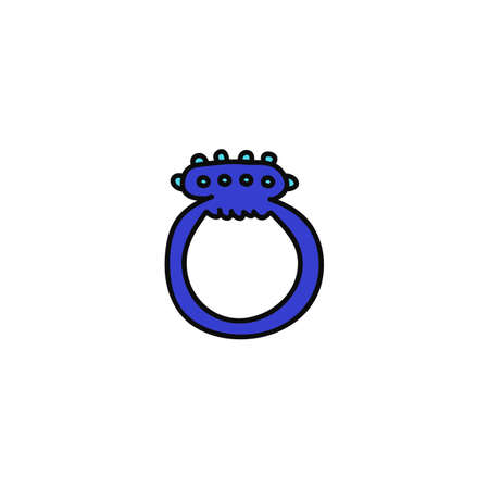 erection ring sex toy doodle icon, vector color illistration