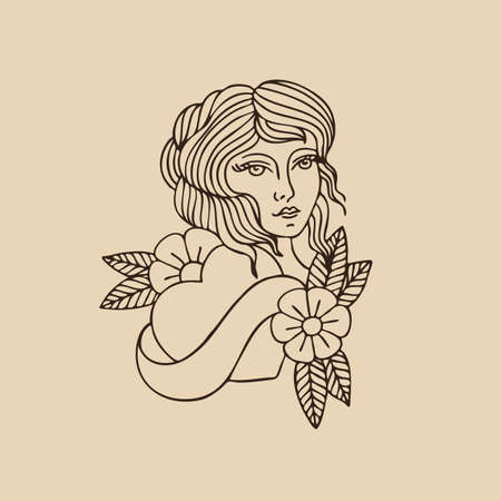 girl illustration traditional tattoo flash, vector color illistration