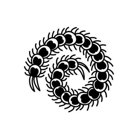 scolopendra doodle icon, color illustration, vector color illistration
