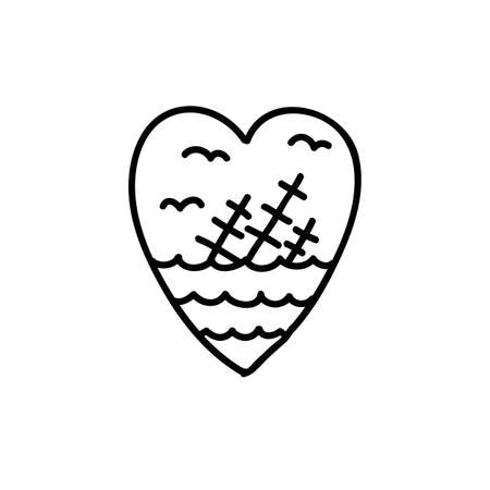 shipwreck in the heart doodle traditional tattoo illustration, vector color illistration