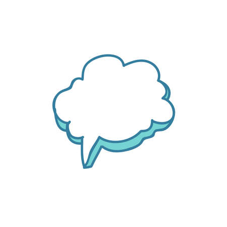 speech bubble doodle icon, vector color illistration Ilustracja