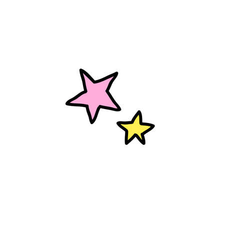 stars doodle color icon, vector color illistration