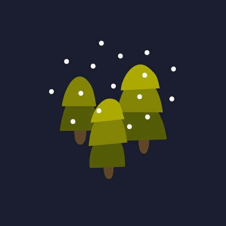 snowy forest illustration icon, vector color illistration