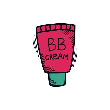 bb cream doodle icon, vector color illistration