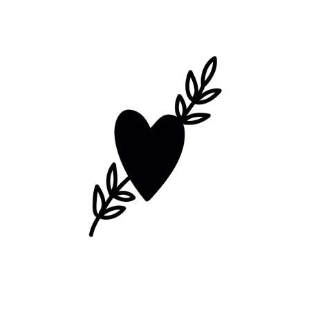 heart and sprig doodle icon, vector color illistration