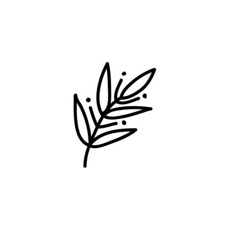 sprig doodle icon, vector color illistration