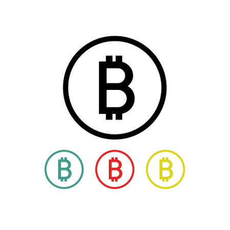 bitcoin flat icon, vector color illustration