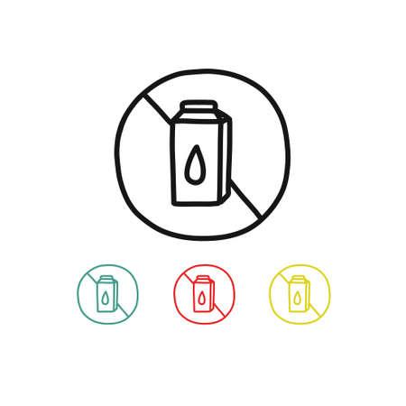 lactose free symbol doodle icon, vector line illustration