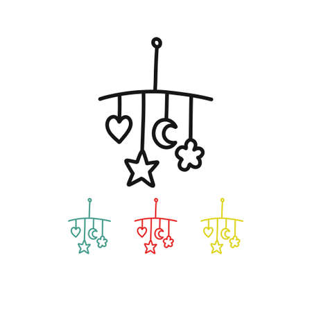baby rattles on the crib doodle icon, vector line illustration