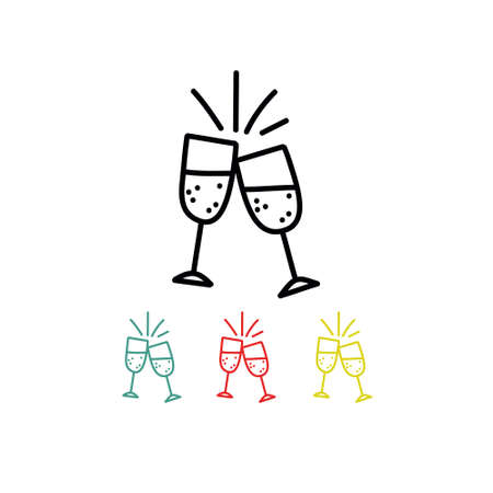 glasses of champagne doodle icon, vector color illustration