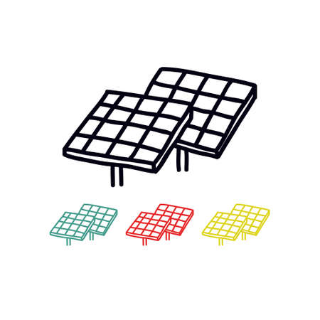solar panel doodle icon, vector color illustration