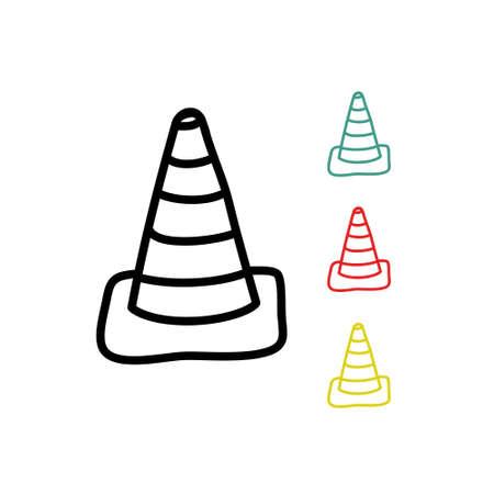 traffic cone doodle icon, vector line illustration