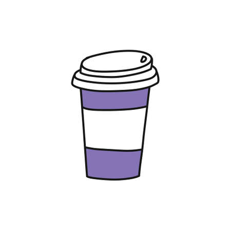 take away coffee cup doodle icon, vector color illustration