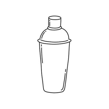 bar shaker doodle icon, vector color illustration