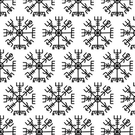 Vegvisir scandinavian symbol doodle pattern, vector illustration
