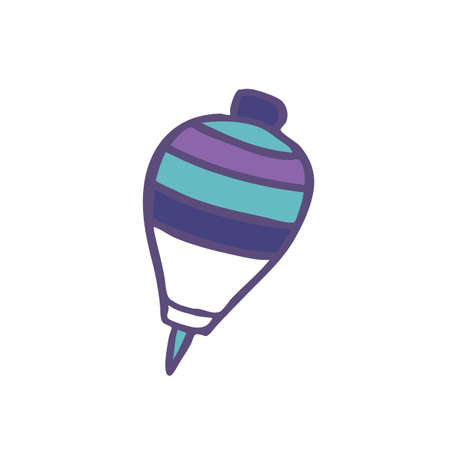 Ecuadorian traditional toy trompo, wood spinning top doodle icon, vector color illustration Vector Illustration