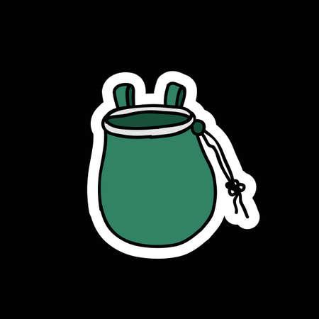 chalk bag for climbing doodle icon, vector color illustration Ilustração
