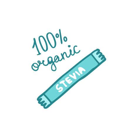stick stevia doodle icon, vector color illustration