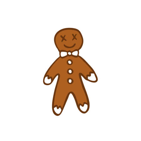 gingerbread man doodle icon, vector color illustration Stock Illustratie