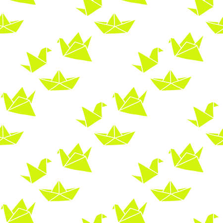 origami seamless doodle pattern, vector color illustration