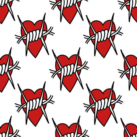 barbed wire heart seamless doodle pattern, vector color illustration