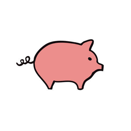 pig doodle icon, vector color illustration