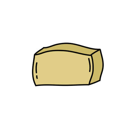 tofu cheese doodle icon, vector color illustration