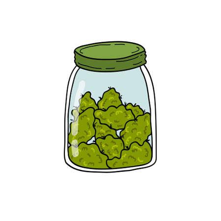 jar with marijuana buds doodle icon, vector color illustration
