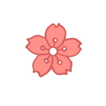 sakura flower doodle icon, vector color illustration