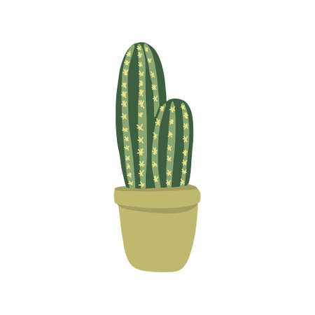 cactus doodle icon, vector color illustration