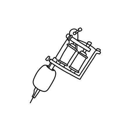 tattoo machine doodle icon, vector color illustration