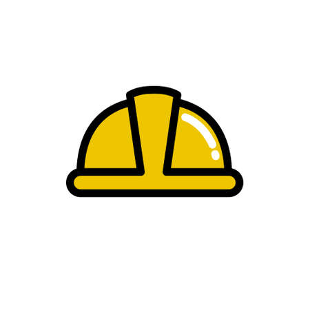 construction helmet icon, vector color illustration
