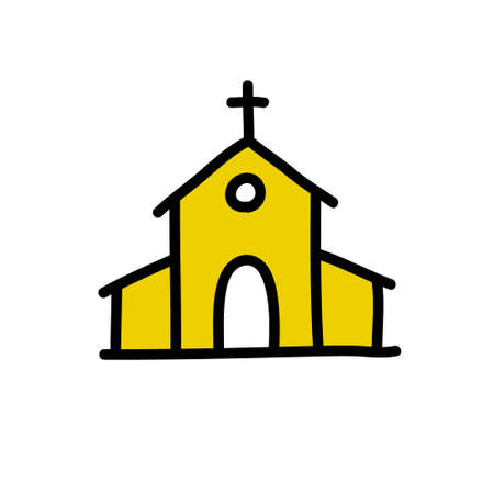 church doodle icon, vector color illustration