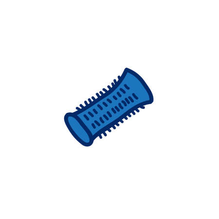 hair curlers doodle icon, vector illustration