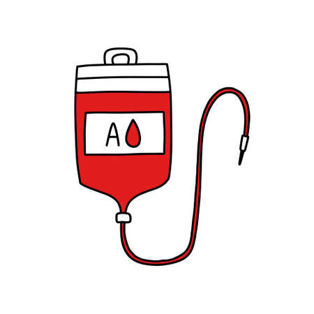 blood transfusion bag doodle icon, vector color illustration