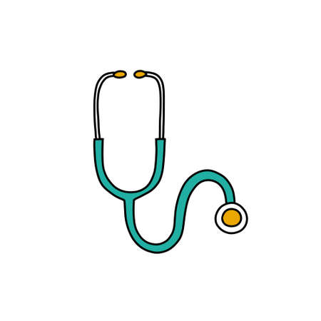 stethoscope doodle icon, vector color illustration