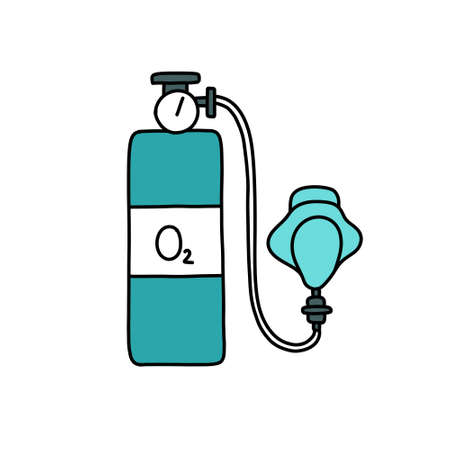 oxygen mask and cylinder doodle icon, vector color illustration