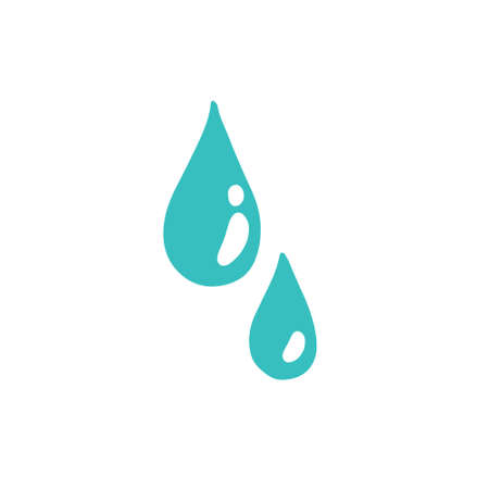 water drops doodle icon, vector color illustration