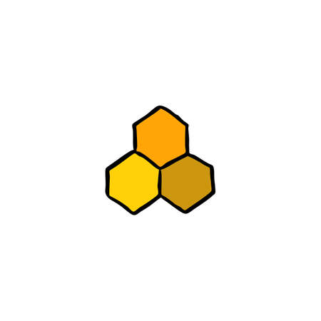 honeycombs doodle icon, vector color illustration
