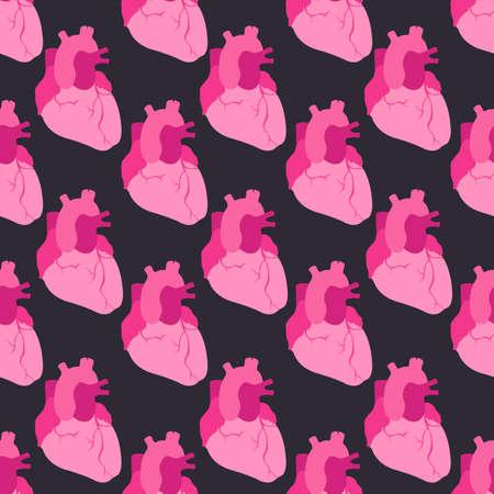 human heart seamless pattern, vector color illustration