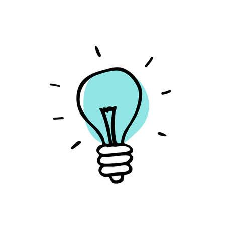lightbulb doodle icon, vector color illustration