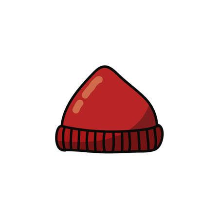 lumberjack hat doodle icon, vector color illustration