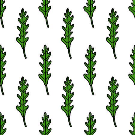 arugula rucola seamless doodle pattern, vector color illustration