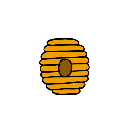 beehive doodle icon, vector color illustration Illustration