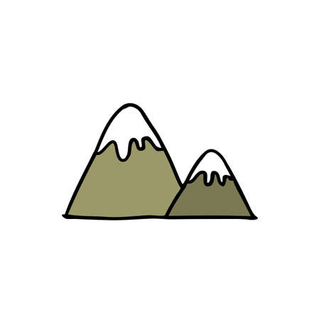 mountains doodle icon, vector color illustration
