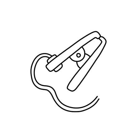 earth clamp for welding doodle icon, vector color illustration
