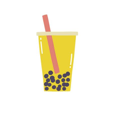 bubble tea doodle icon, vector color illustration