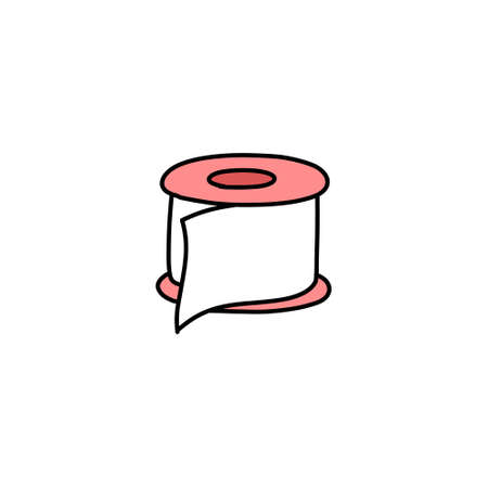 adhesive plaster doodle icon, vector color illustration